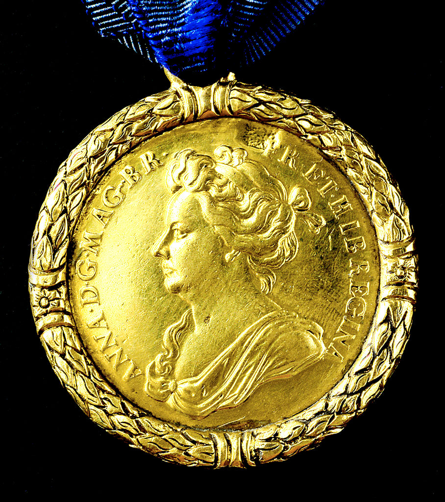 Detail of Medal commemorating the capture of Gibraltar, 1704; obverse by J. Croker