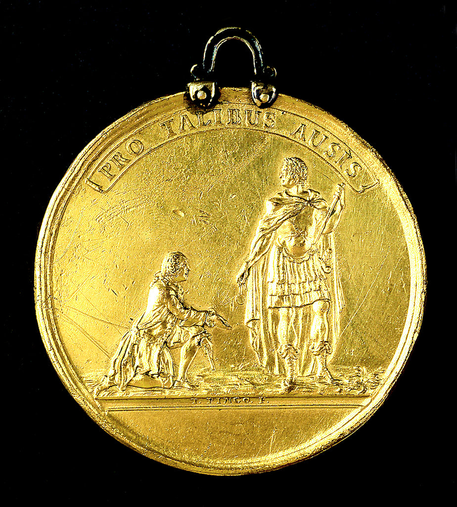 Detail of Medal commemorating the Spanish galleys destroyed, 1742; obverse by Thomas Pingo