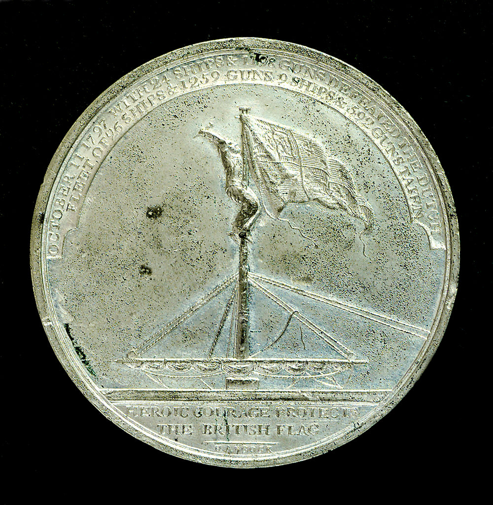 Detail of Badge commemorating the Battle of Camperdown, 1797 and Admiral of the Fleet, Adam Duncan (1731-1804); reverse by J.G. Hancock