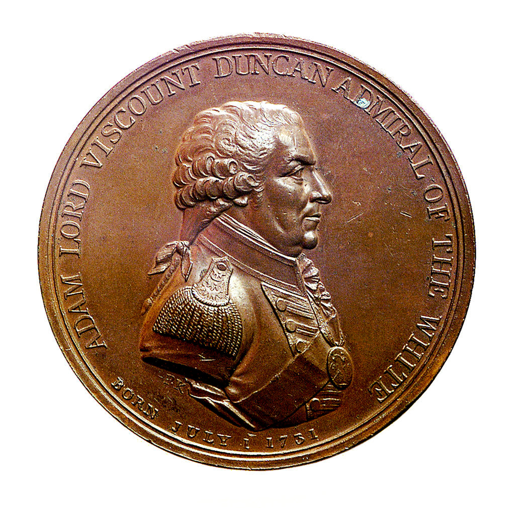 Detail of Badge commemorating the Battle of Camperdown, 1797 and Admiral of the Fleet, Adam Duncan (1731-1804); obverse by J.G. Hancock