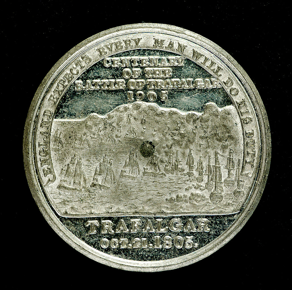 Detail of Medal commemorating the Trafalgar Centenary, 1905; reverse by Spink & Son Ltd.