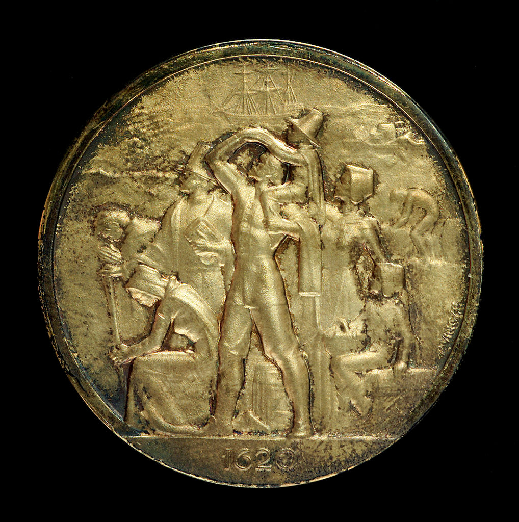 Detail of Medal commemorating the 350th anniversary of the sailing of the 'Mayflower', 1620-1970; obverse by Paul Vincze