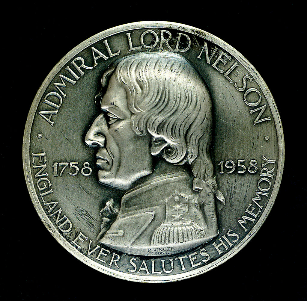 Detail of Medal commemorating the 200th anniversary of the birth of  Vice-Admiral Horatio Nelson, 1958; obverse by Paul Vincze