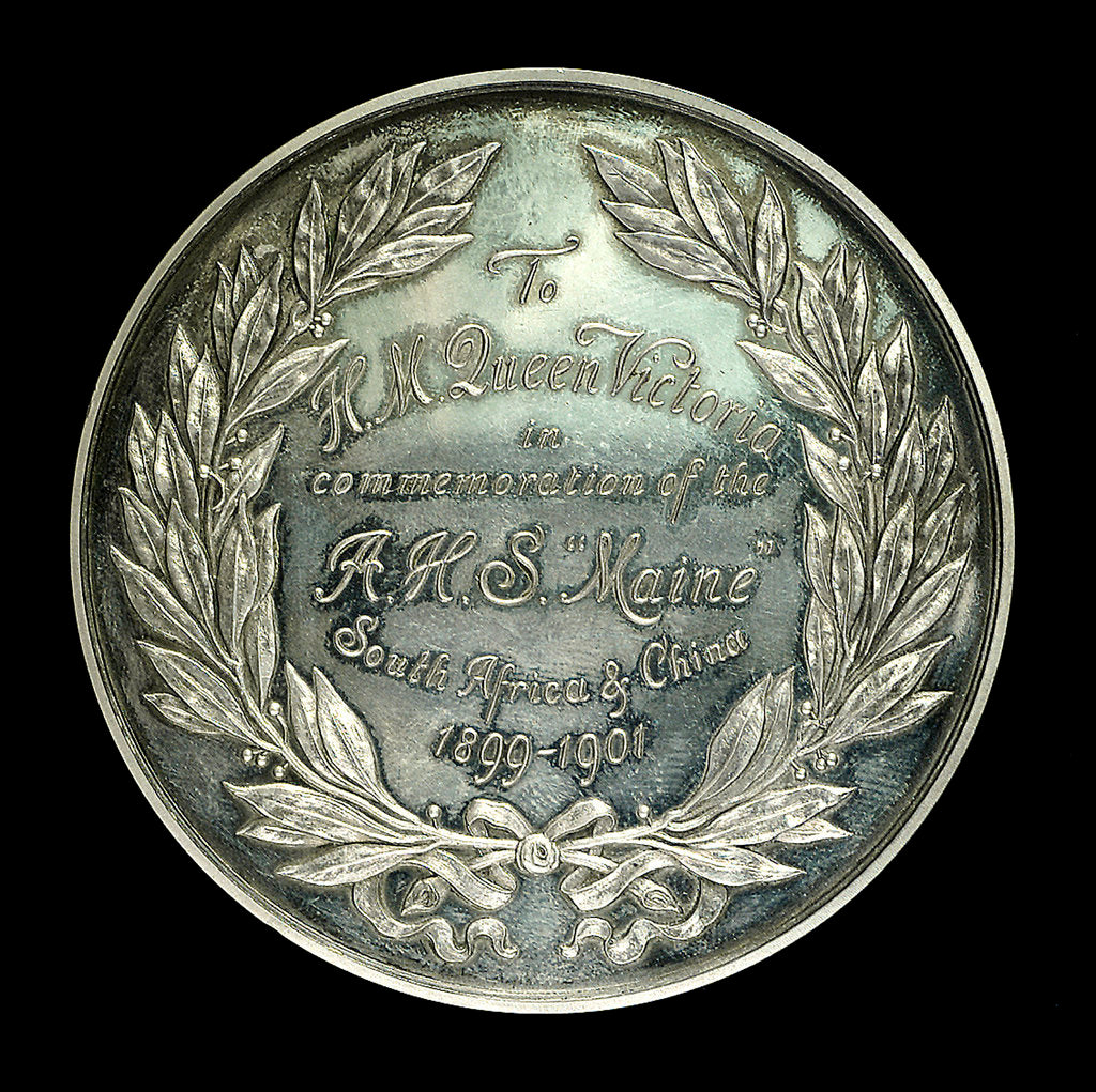 Detail of Medal commemorating AHS 'Maine' South Africa and China. 1899-1901; reverse by Tiffany & Co.