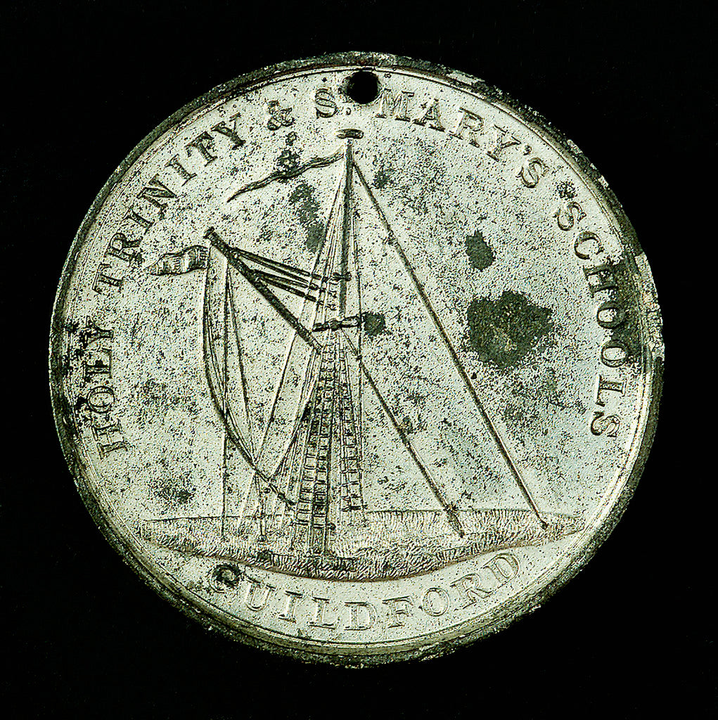 Detail of Medal commemorating Trinity & St Mary's Schools, Guildford; reverse by unknown
