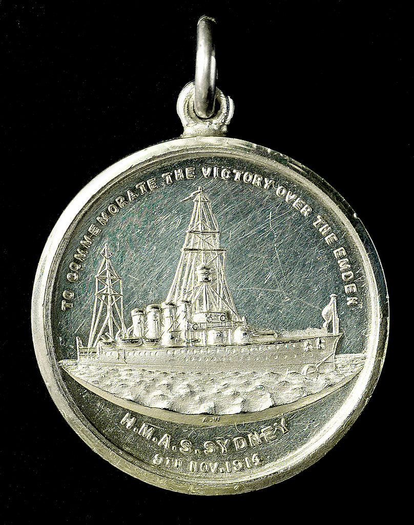 Detail of Medal commemorating the destruction of the 'Emden', 1914; obverse by A.W.