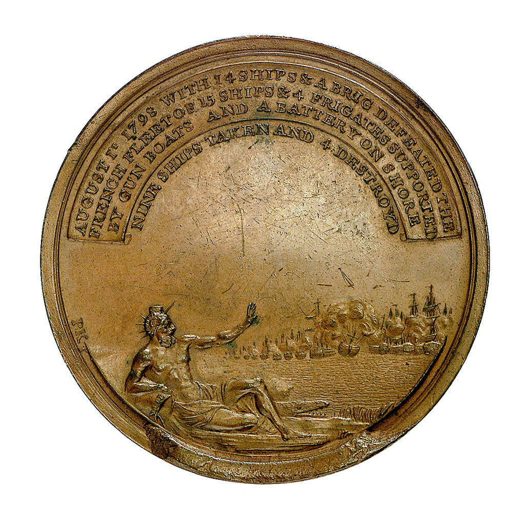 Detail of Medal commemorating the Battle of the Nile, 1798; reverse by J.G. Hancock