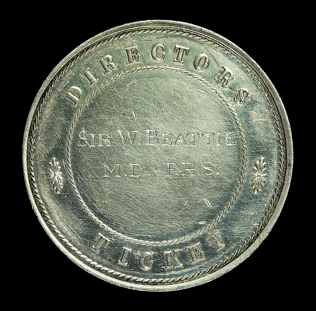 Detail of London and Greenwich Railway Director's Pass; reverse by Howe