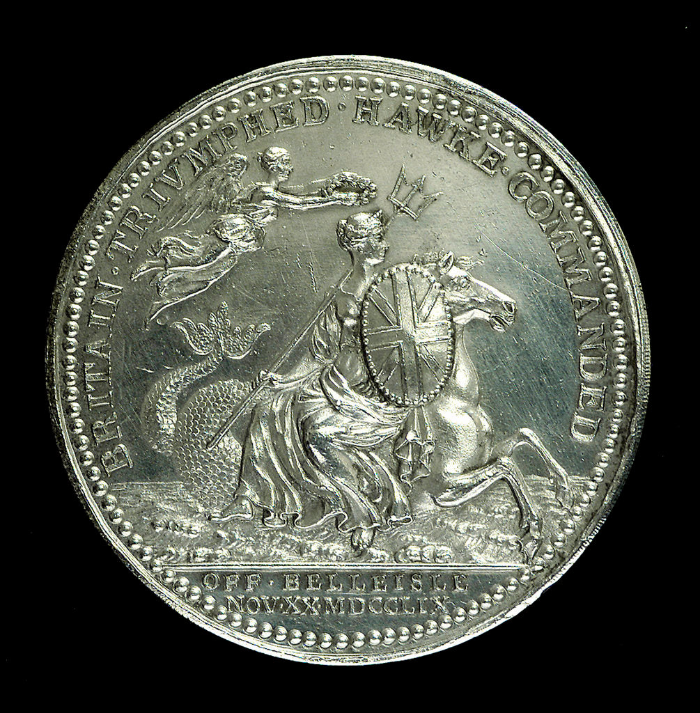 Detail of Medal commemorating the Battle of Quiberon Bay, 1759; obverse by Thomas Pingo