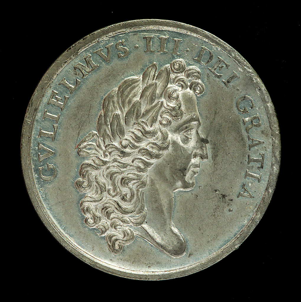 Detail of Medal commemorating the abdication of King James II, 1688; obverse by unknown