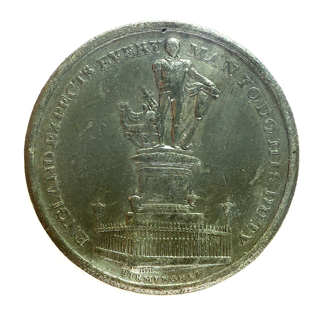 Detail of Medal commemorating the Nelson monument at Birmingham; obverse by unknown