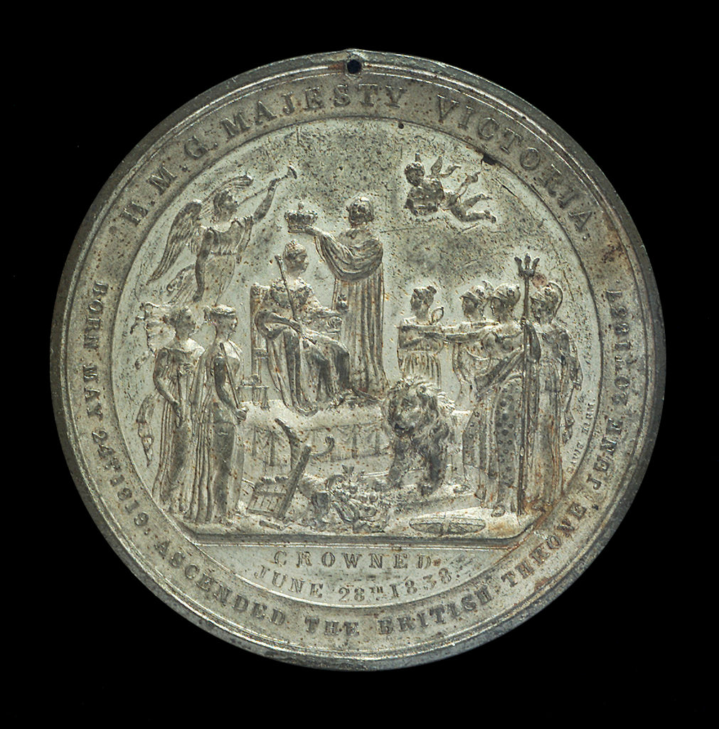 Detail of Medal commemorating Queen Victoria's coronation, 1837; reverse by Davis