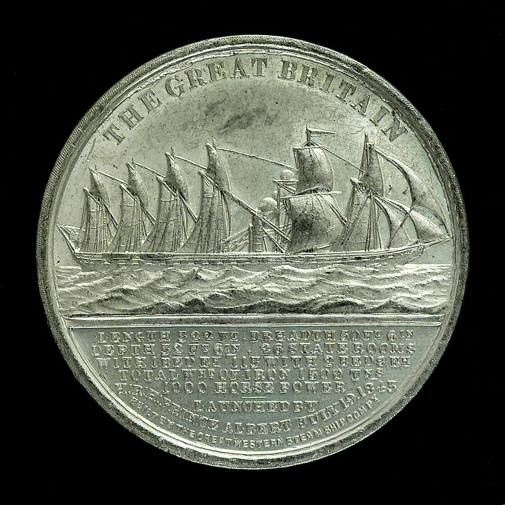Detail of Medal commemorating the SS 'Great Britain'; obverse by unknown