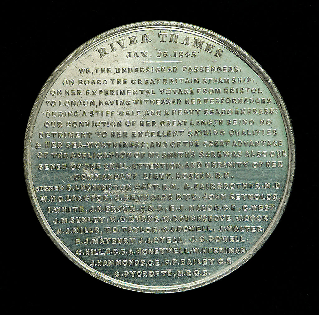Detail of Medal commemorating the SS 'Great Britain'; reverse by unknown