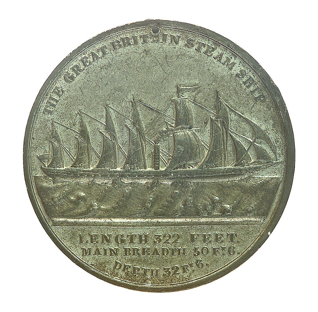 Detail of Medal commemorating the SS 'Great Britain'; reverse by E. Avern
