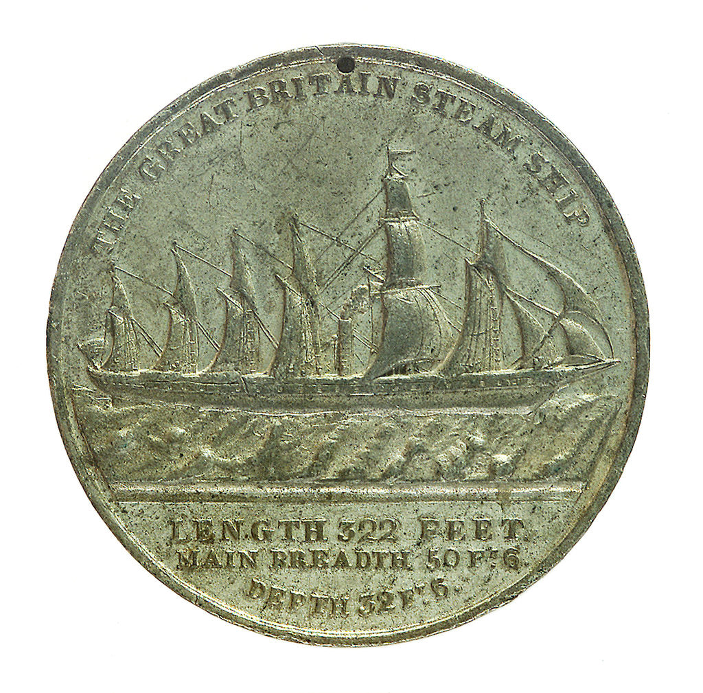 Detail of Medal commemorating the SS 'Great Britain'; reverse by J. Gardner