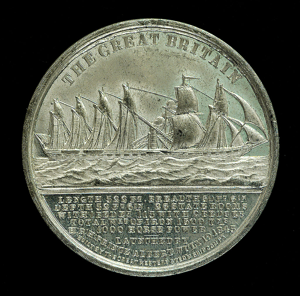 Detail of Medal commemorating the SS 'Great Britain'; reverse by J. Davis