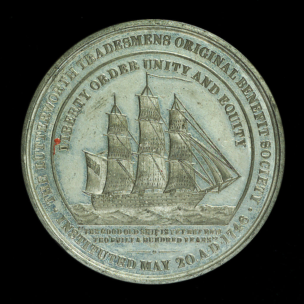 Detail of Medal commemorating the centenary of the Lutterworth Tradesmen's original Benefit Society, 1846; reverse by unknown