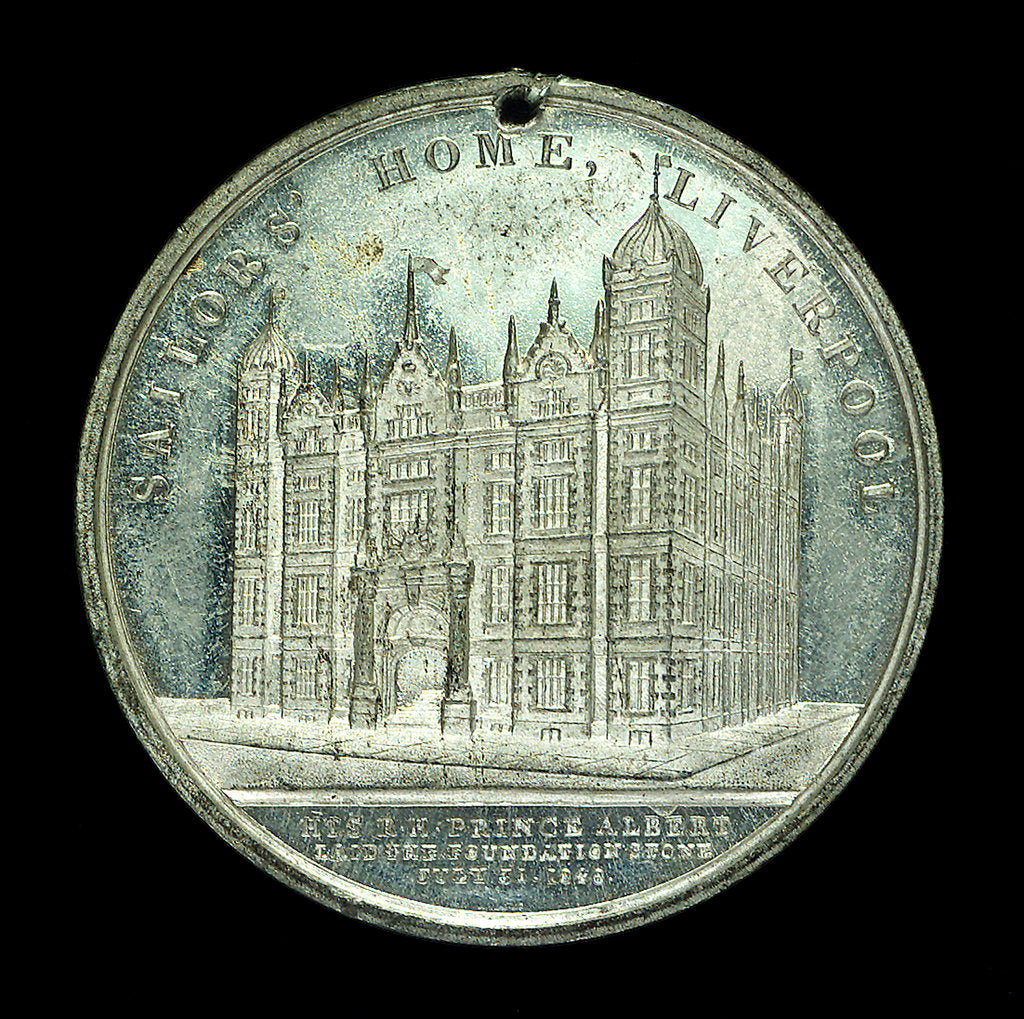 Detail of Medal commemorating the Sailors' Home, Liverpool; reverse by unknown