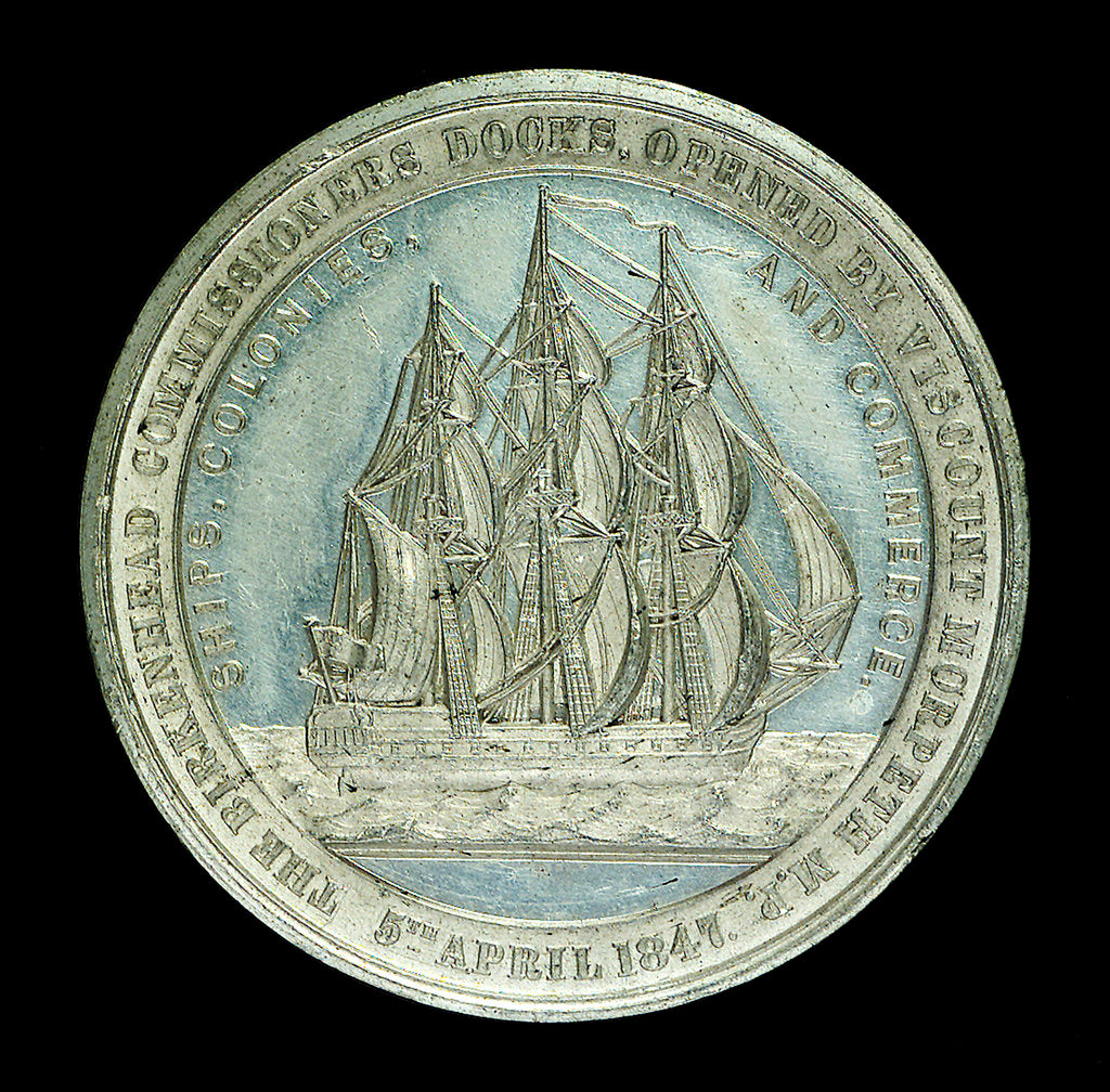 Detail of Medal commemorating the opening of the Birkenhead docks, 1847; obverse by unknown