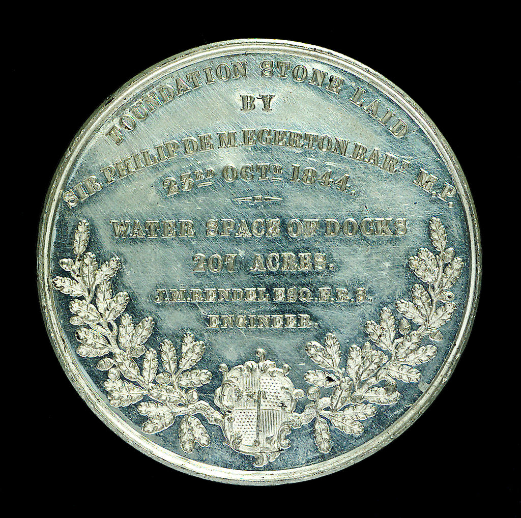 Detail of Medal commemorating the opening of the Birkenhead docks, 1847; reverse by unknown