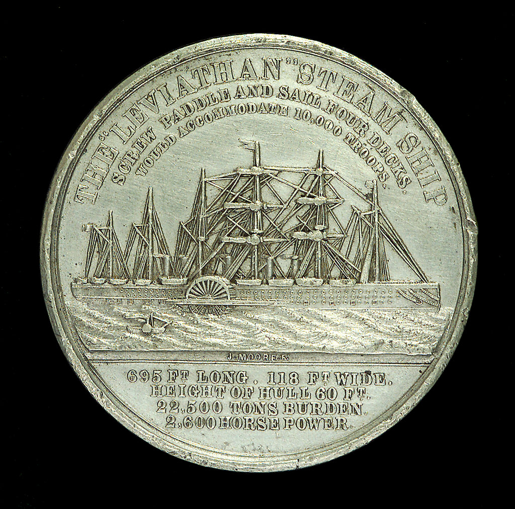 Detail of Medal commemorating the SS 'Leviathan'; reverse by Allen & Moore