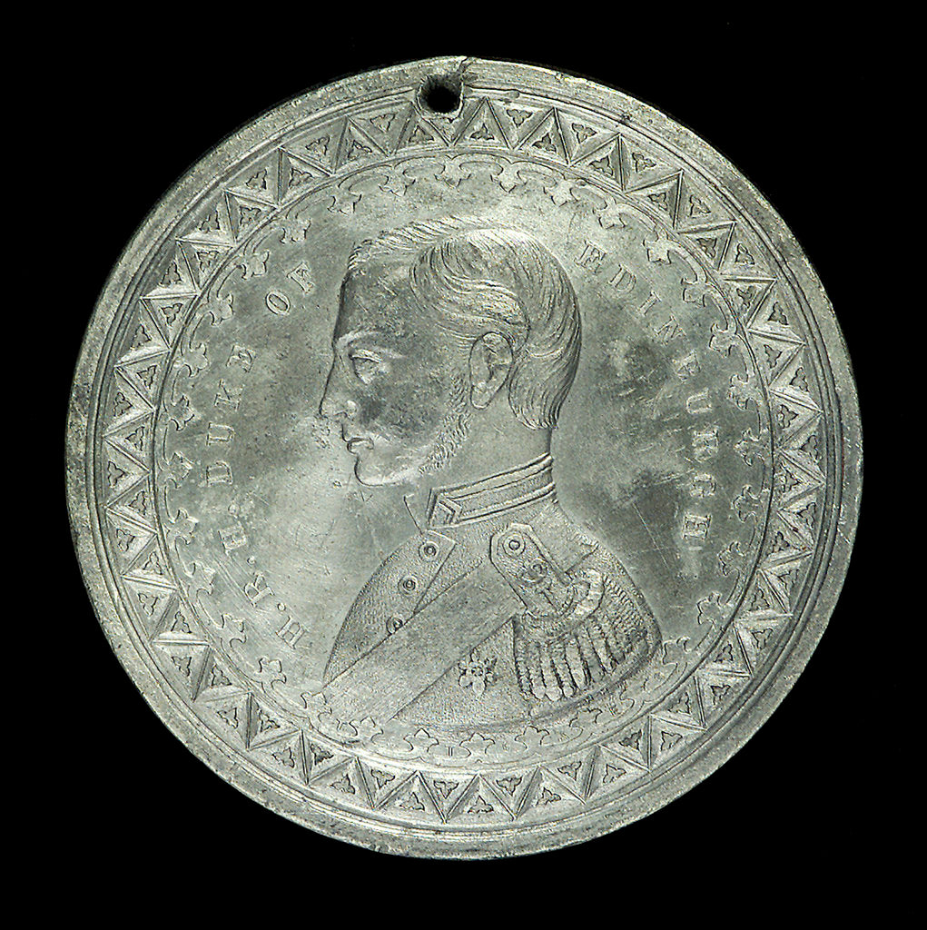 Detail of Medal commemorating The Duke of Edinburgh and HMS 'Galatea'; obverse by J. Stokes