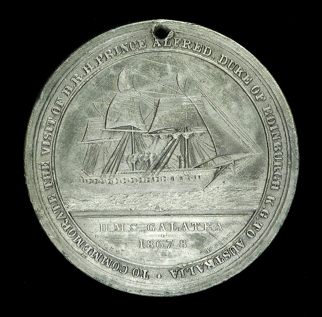 Detail of Medal commemorating The Duke of Edinburgh and HMS 'Galatea'; reverse by J. Stokes