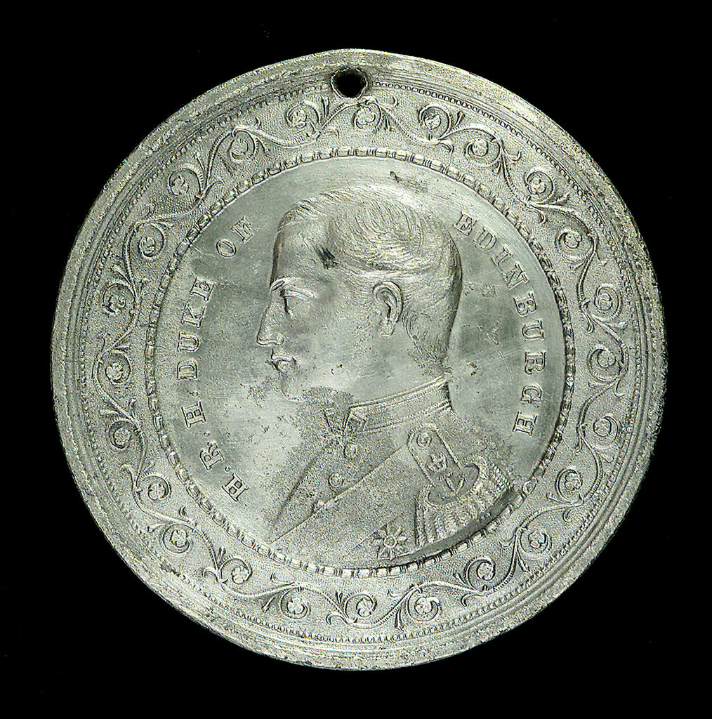 Detail of Medal commemorating The Duke of Edinburgh and HMS 'Galatea'; obverse by T. Stokes