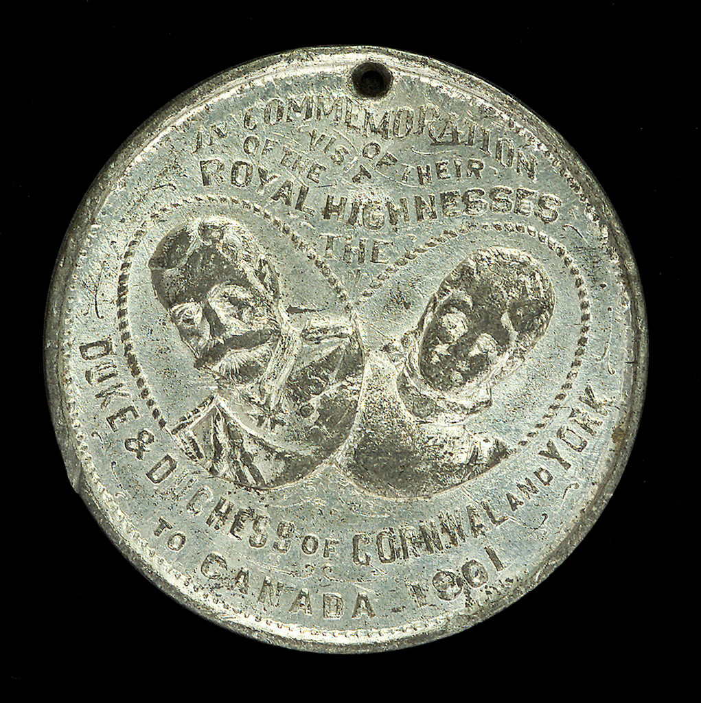 Detail of Medal commemorating the visit of the Duke and Duchess of Cornwall and York to Canada, and HMS 'Ophir'; obverse by unknown