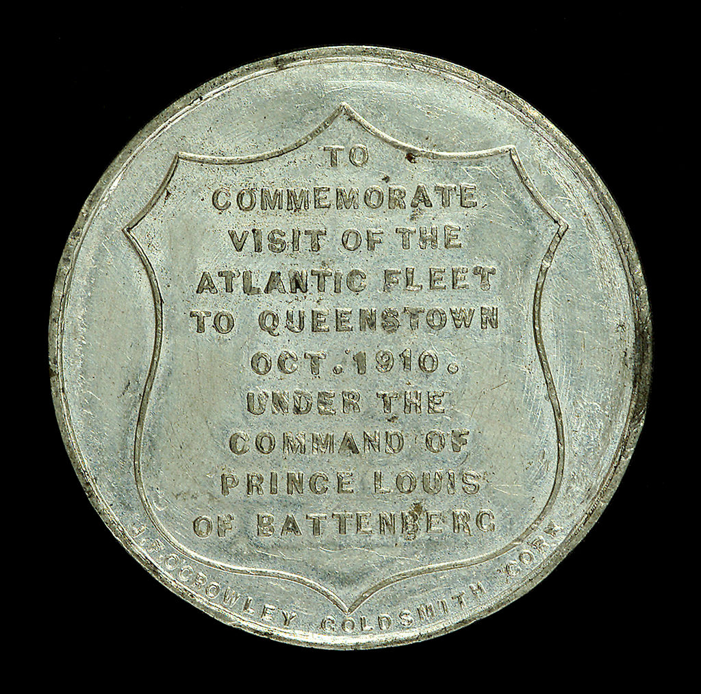 Detail of Medal commemorating the visit of the Atlantic fleet to Queenstown, 1910; reverse by J.F. O'Crowley