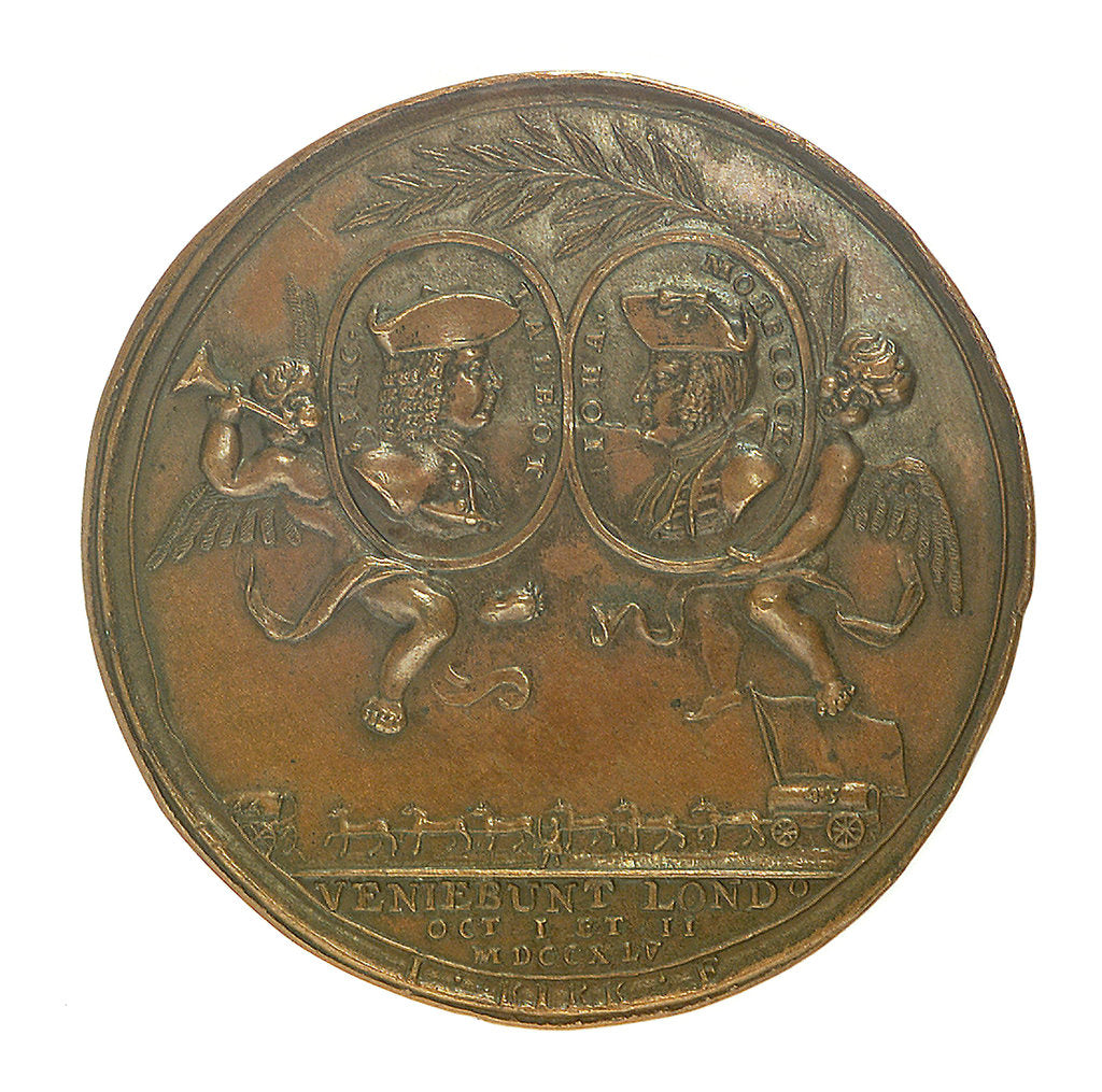 Detail of Medal commemorating the capture of French treasure ships, 1745; obverse by J. Kirk