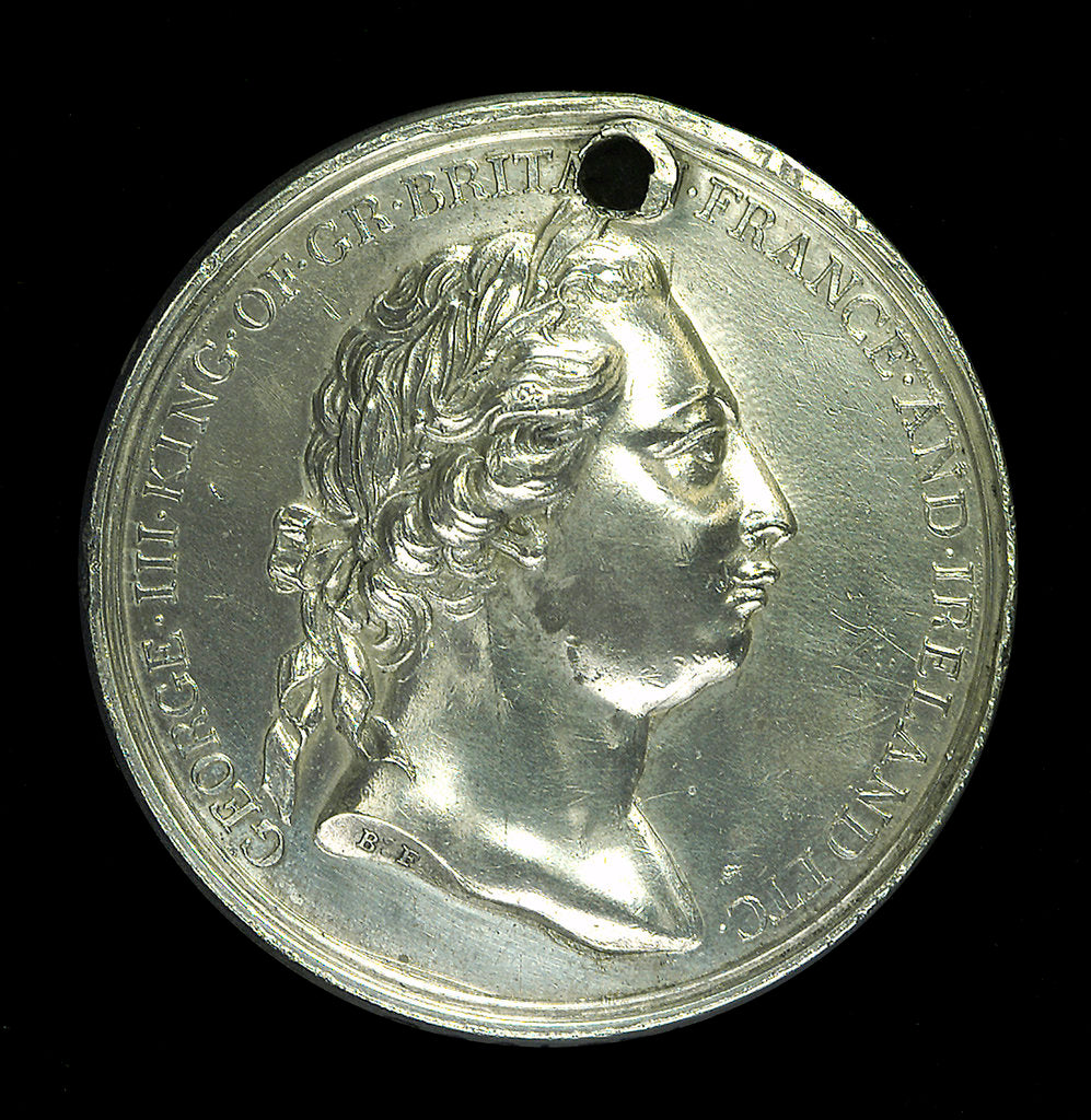 Detail of Medal commemorating Captain James Cook's second voyage; obverse by W. Barnett