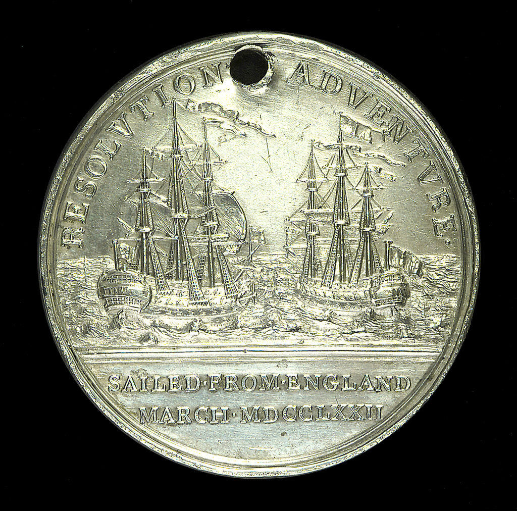Detail of Medal commemorating Captain James Cook's second voyage; reverse by W. Barnett