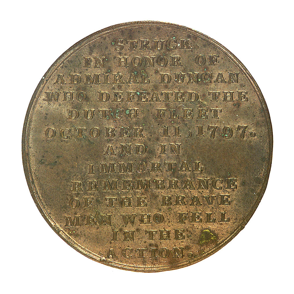 Detail of Medal commemorating the Battle of Camperdown, 1797 and Admiral of the Fleet, Adam Duncan (1731-1804); reverse by unknown