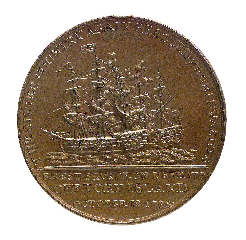 Detail of Medal commemorating the action off Tory Island, 1798 and Admiral Sir John Borlase Warren (1753-1822); reverse by unknown