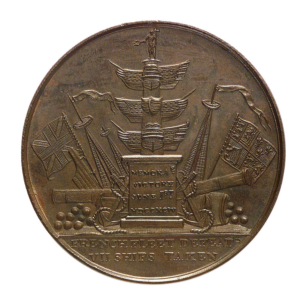 Detail of Medal commemorating Admiral of the Fleet Richard Howe (1726-1799) and the Battle of the Glorious First of June, 1794; reverse by T. Wyon