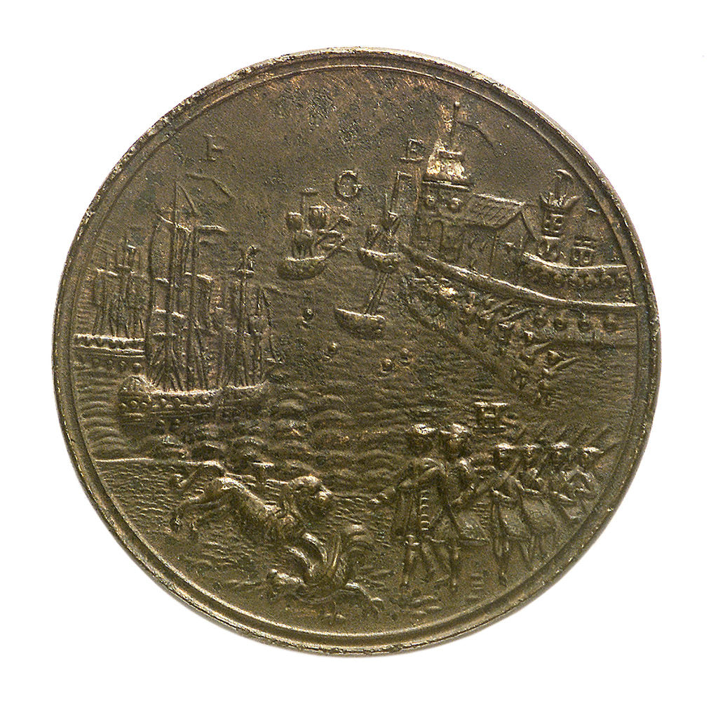 Detail of Medal commemorating the action off Toulon, 1744; obverse by unknown