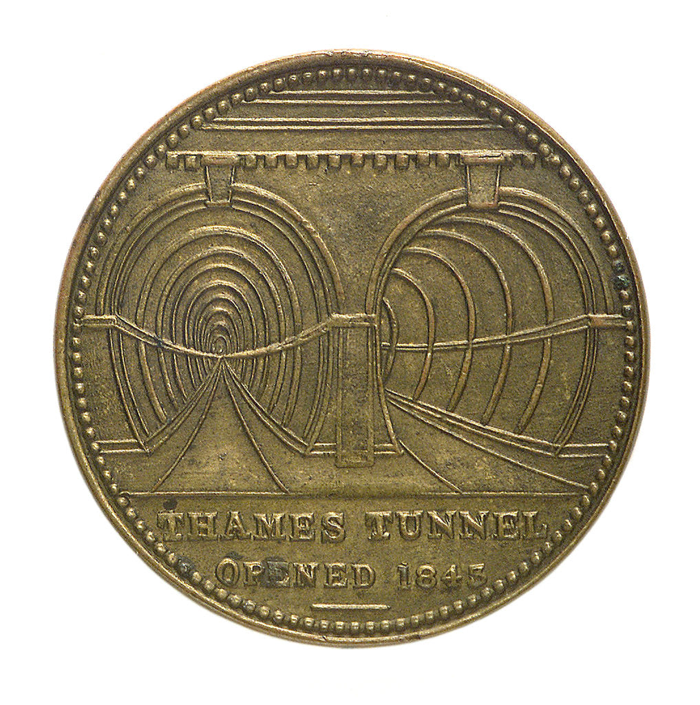 Counter commemorating the Thames tunnel and Trafalgar Square Memorial; obverse by unknown