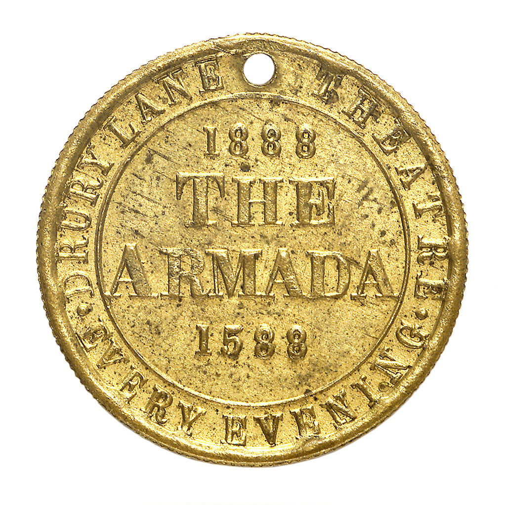Detail of Theatre pass commemorating the tercentenary of the Spanish Armada, 1888; reverse by unknown