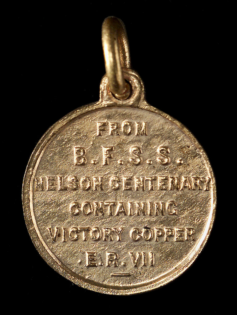 Detail of Badge commemorating the Trafalgar centenary, 1905; reverse by unknown