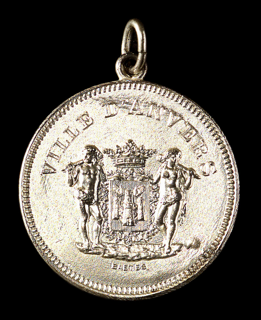 Medalet commemorating the visit of HMS 'Antrim' Captain Inglefield to Antwerp, 1906; obverse by J. Baetes