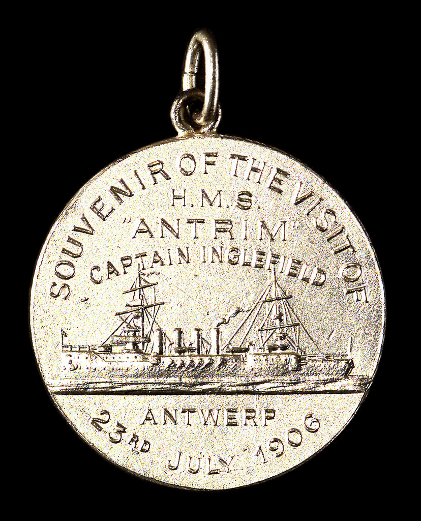 Detail of Medalet commemorating the visit of HMS 'Antrim' Captain Inglefield to Antwerp, 1906; reverse by J. Baetes