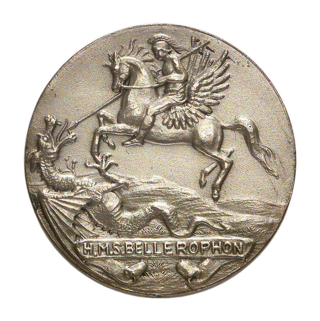 Medalet commemorating HMS 'Bellerophon'; obverse by V.B.