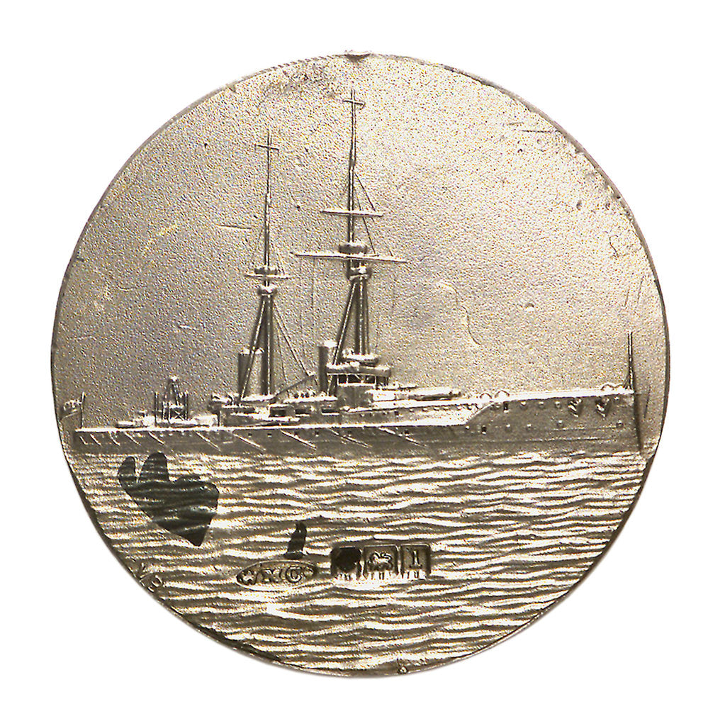 Detail of Medalet commemorating HMS 'Bellerophon'; reverse by V.B.