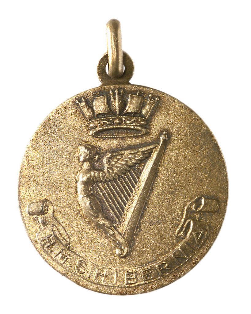 Detail of Medalet commemorating HMS 'Hibernia'; obverse by V.B.