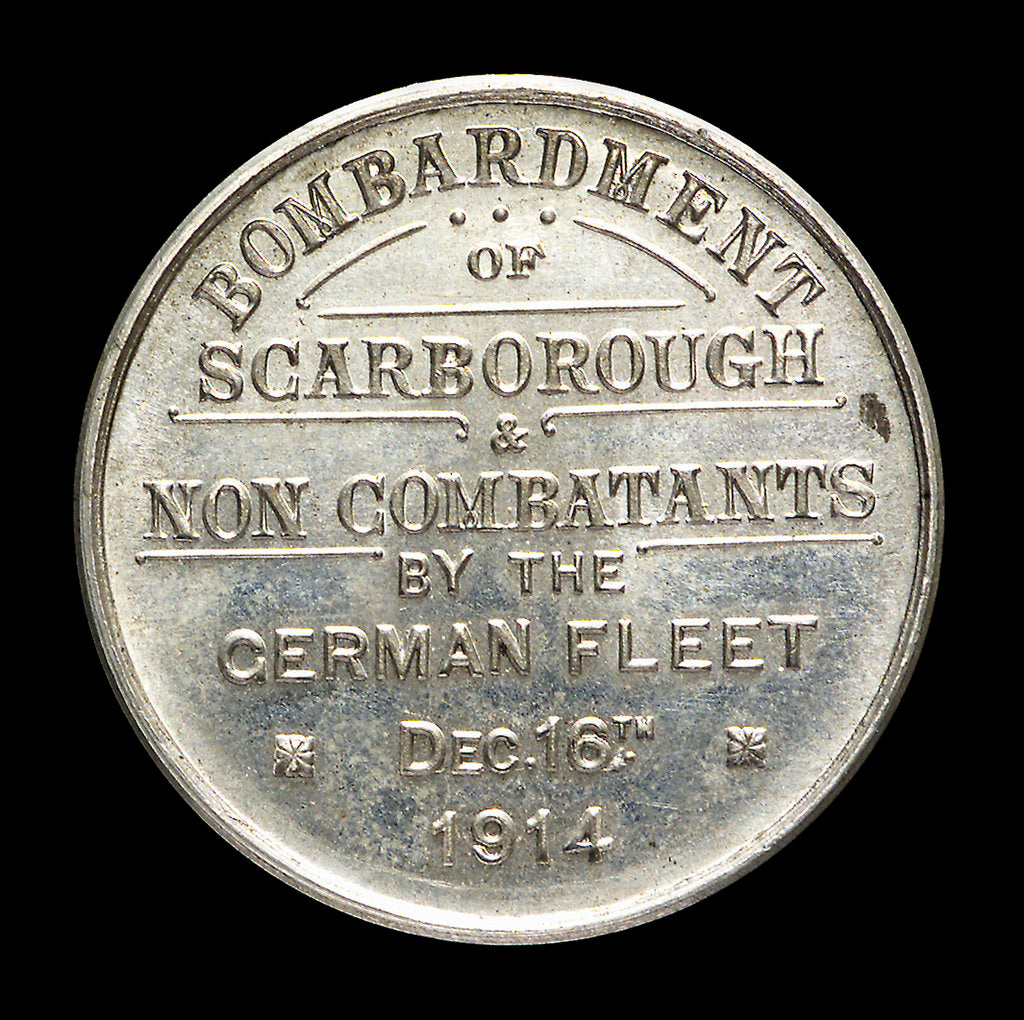 Detail of Medalet commemorating the bombardment of Scarborough, 1914; reverse by unknown