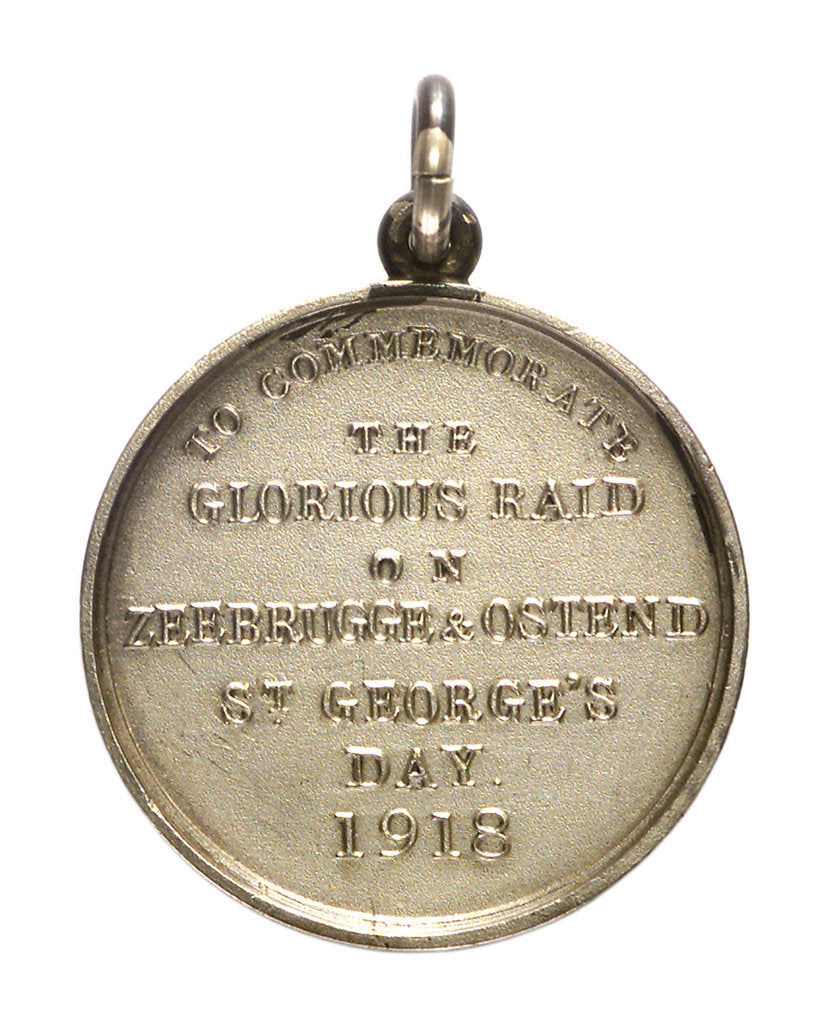Detail of Medalet commemorating the raid on Zeebrugge and Ostend, 1918; reverse by unknown