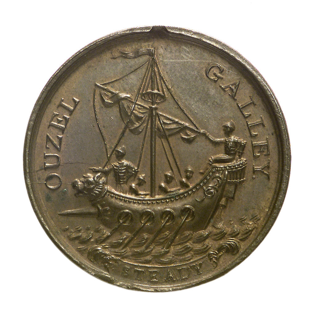 Detail of Medal commemorating the 'Ouzel Galley' Society; obverse by I. Parkes