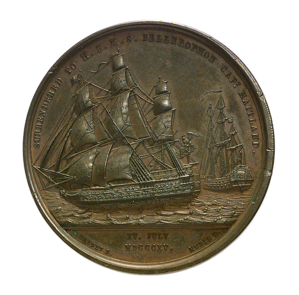 Detail of Medal commemorating the surrender of the Emperor Napoleon I, 1815; reverse by J. Mudie
